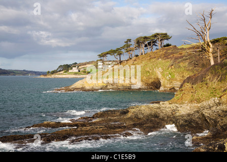 The view North from near Carricknath Point to St Mawes Castle on Cornwalls Roseland Peninsular - Stock Photo