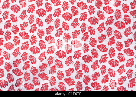 Tulle fabrics on red, background from matter - Stock Photo
