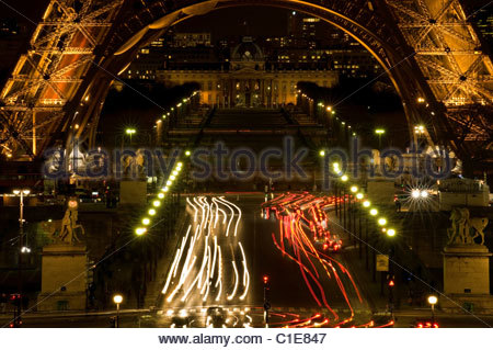 Under The Eiffel Tower from the Tracadero at night. Paris, France. - Stock Photo