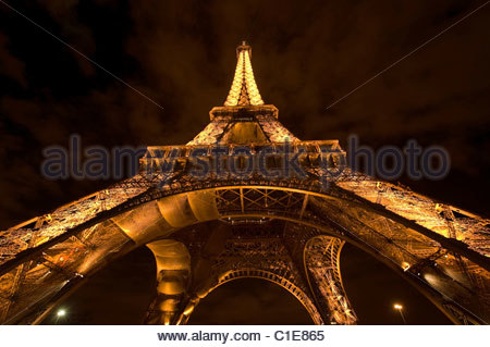 Wide Angle view of The Eiffel Tower from the Trocadero illuminated at night. Paris, France. - Stock Photo