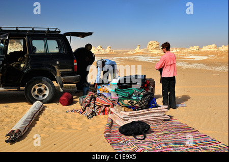 Tourist camp for an overnight stay in the White Desert national park, Egypt - Stock Photo