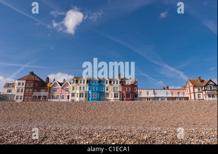 A row of colourful bay fronted houses on the seafront in Aldeburgh , Suffolk , England , Britain , Uk - Stock Photo