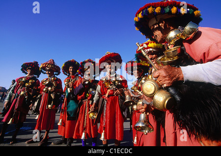 Morocco, South, Marrakesh, Jemaa el Fnaa square, gang of water sellers posing for a photograph (VMR) - Stock Photo
