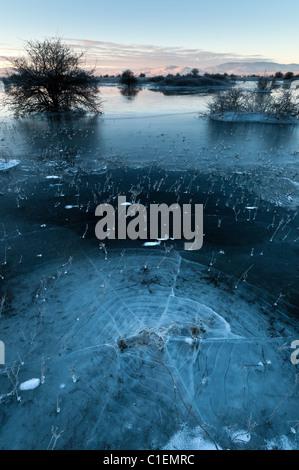 Frozen lake in winter - Stock Photo