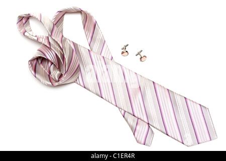 Rose tie and cuff links with stone insulated on white background - Stock Photo