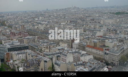 ROOFTOP VIEW OVER PARIS FROM NEUILLY SUR SEINE TOWARDS MONTMARTRE - Stock Photo