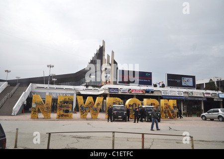 'Newborn' plaza in Pristina, monument marking the Kosova Declaration of Independence Day with kfor troops - Stock Photo