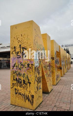 'Newborn' plaza in Pristina, monument marking the Kosova Declaration of Independence Day - Stock Photo