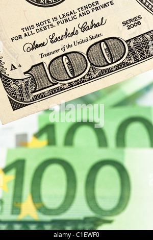 Dollar And Euro Notes Euro Dollar Symbol Differences Stock Photo