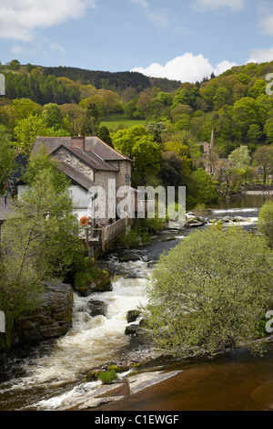 The Corn Mill and River Dee, Llangollen, Denbighshire, Wales, United Kingdom - Stock Photo