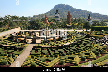 Park nong nooch in Thailand, shrubberies grow in geometric figures - Stock Photo