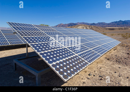 Solar panels solar panel solar photovoltaic (PV) energy system at Furnace Creek resort Death Valley National Park - Stock Photo