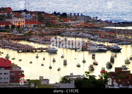 aerial view of yacht  club and harbor at Punta del Este coast, at twilight. Maldonado, Uruguay, south america - Stock Photo