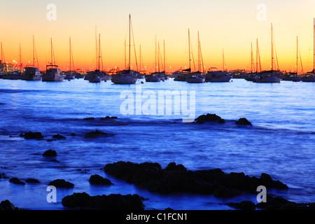 yatchs at Punta del Este coast, at sunset. Maldonado, Uruguay, south america - Stock Photo