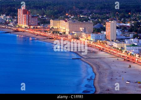 Aerial view of Piriapolis City and beach. Maldonado, Uruguay, south America - Stock Photo