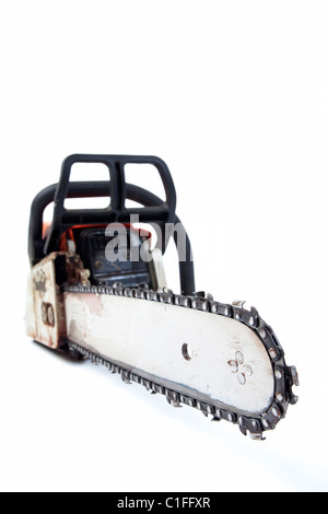 petrol chainsaw isolated on white background - Stock Photo