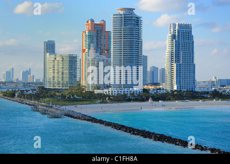 Skyline of luxury high rise apartments on South Beach in Miami, Florida. - Stock Photo