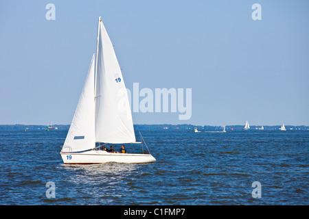 USNA sailboat, Chesapeake Bay, US Naval Academy, Annapolis, Maryland - Stock Photo
