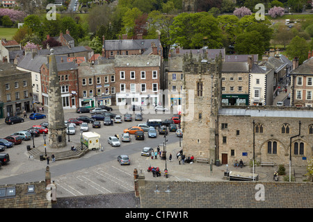 Market Place, Richmond (medieval market town founded 1071), seen from Richmond Castle, North Yorkshire, England, - Stock Photo