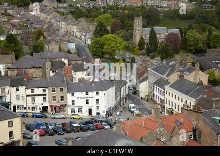 Market Place, Richmond (medieval market town circa 1071), seen from Richmond Castle, North Yorkshire, England, United - Stock Photo