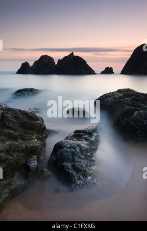 Twilight at Soar Mill Cove on the South Hams, Devon, England. Autumn (September) 2010. - Stock Photo