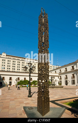 Art exhibit in an inner courtyard of Palacio de La Moneda, the Presidential Palace, formerly a colonial mint, Santiago, - Stock Photo