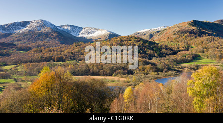 Elterwater, the Langdale valley and snow capped mountains from Crag Head, Lake District National Park, Cumbria, - Stock Photo