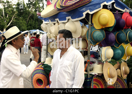 Mexico, Yucatan State, Merida, hat street sellers - Stock Photo