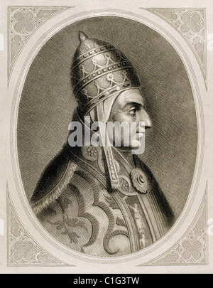 Pius II (1405-1464). Italian pope (1458-1464), born Enea Silvio Piccolomini. Engraving by Roca. - Stock Photo