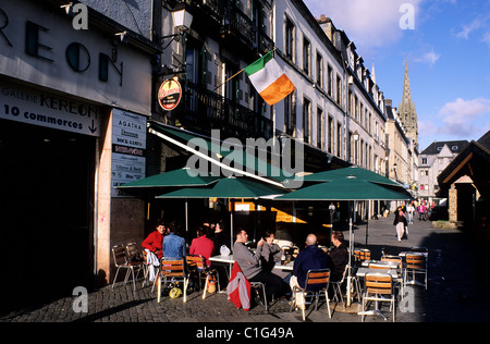 France, Finistere, Quimper town, terrace of a Cafe in Astor Street - Stock Photo