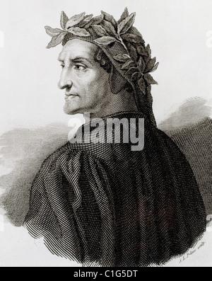 Dante Alighieri (1265-1321). Italian poet. Engraving. - Stock Photo