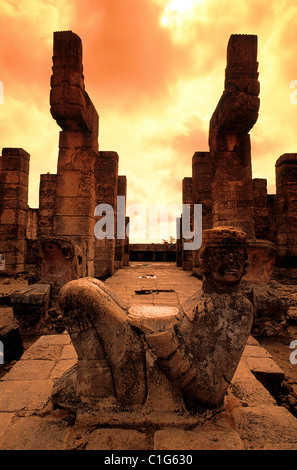 Mexico Yucatan State the Chac-Mol statue on Mayan site of Chichen Itza with its tray on wich the human hearts used - Stock Photo