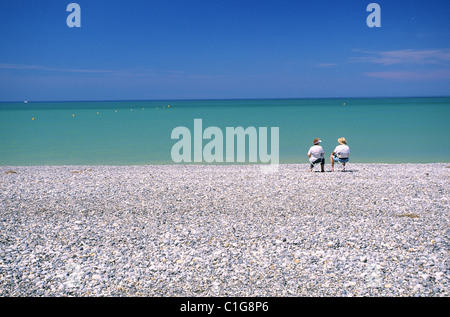 France, Somme, Cayeux sur Mer Shingle Beach - Stock Photo