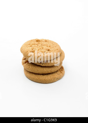 Stem Ginger Biscuits on White back ground - Stock Photo