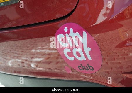 City Car Club vehicle parked in Manchester.The club offers it's members hire of their fleet of vehicles from an - Stock Photo