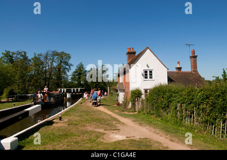Stoke Lock, the first lock on the Wey Navigation, Guildford Surrey - Stock Photo