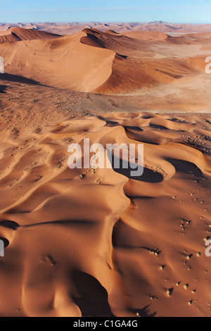 Aerial view of red sand dunes at Sossusvlei. Namib desert. Namib-Naukluft N.P, Namibia - Stock Photo