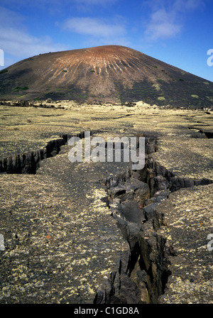 Evidence of seismic earthquake volcanic activity on Lanzarote - Stock Photo