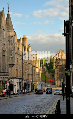 EDINBURGH - AUG. 8: Edinburgh Old Town in the early evening light as setting sun reflects on old stone buildings. - Stock Photo