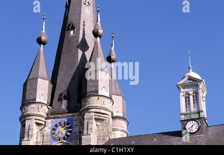 France, Nord, Solre-le-Chateau, detail of the bell tower of the church - Stock Photo