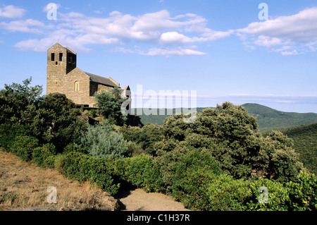 France, Pyrenees Orientales, Aspres region, roman priory of Serrabone - Stock Photo