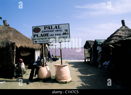 Senegal, north of Dakar city, Pink lake, tourism shops and handcraft around the lac - Stock Photo