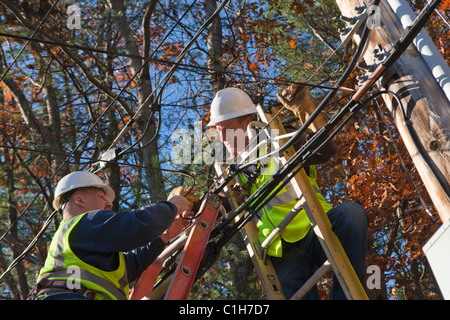 Cable installers installing cable for cable TV Stock Photo ...