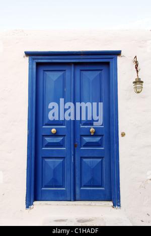 Old dark blue door - Stock Photo