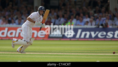 Andrew Strauss batting during the England V Australia Second Ashes Test series at Lord's, London, England. - Stock Photo