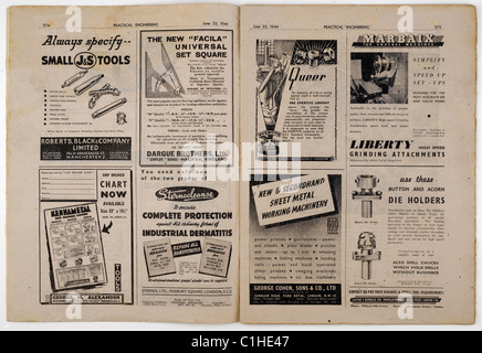 Two page spread of advertisements in an old vintage Practical Engineering magazine dated June 23rd 1944. EDITORIAL - Stock Photo