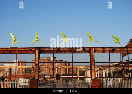 Five running sculptures, Liverpool - Stock Photo