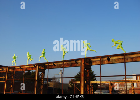 Six running sculptures, Liverpool. - Stock Photo