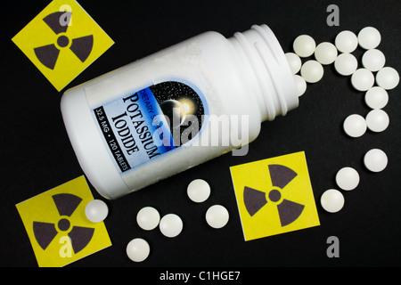 Potassium Iodide Pills - Treatment for Radiation Exposure (Iodine Tablets) - Stock Photo