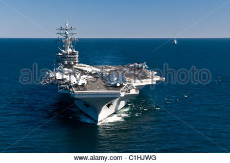2011 March - US NAVY - aircraft carrier USS Ronald Reagan - Stock Photo